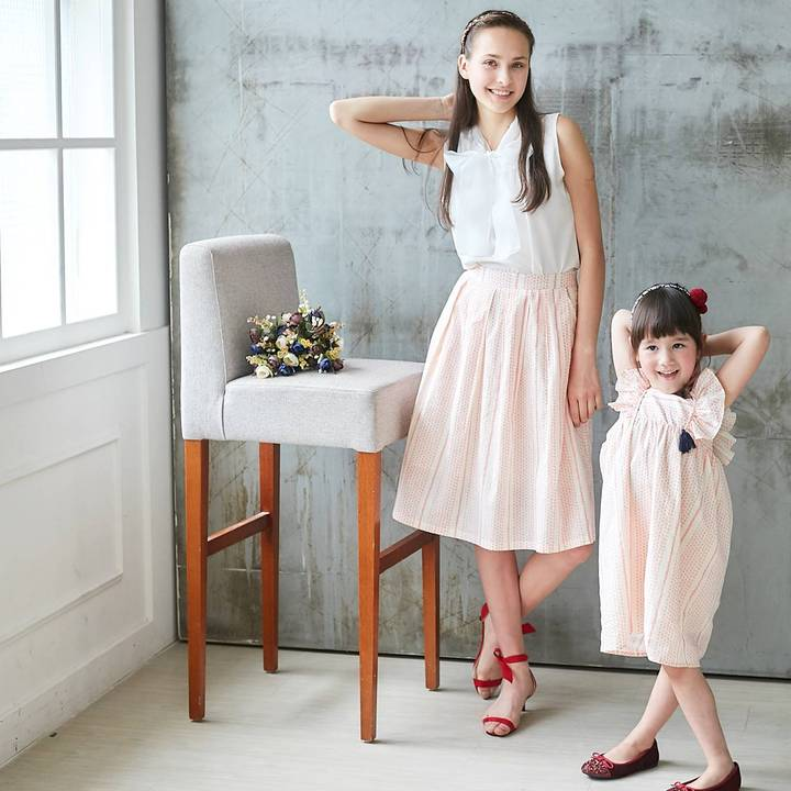 DELILAH - Blush Pink Striped Flutter Sleeve Dress and Midi Skirt - Mommy and Me