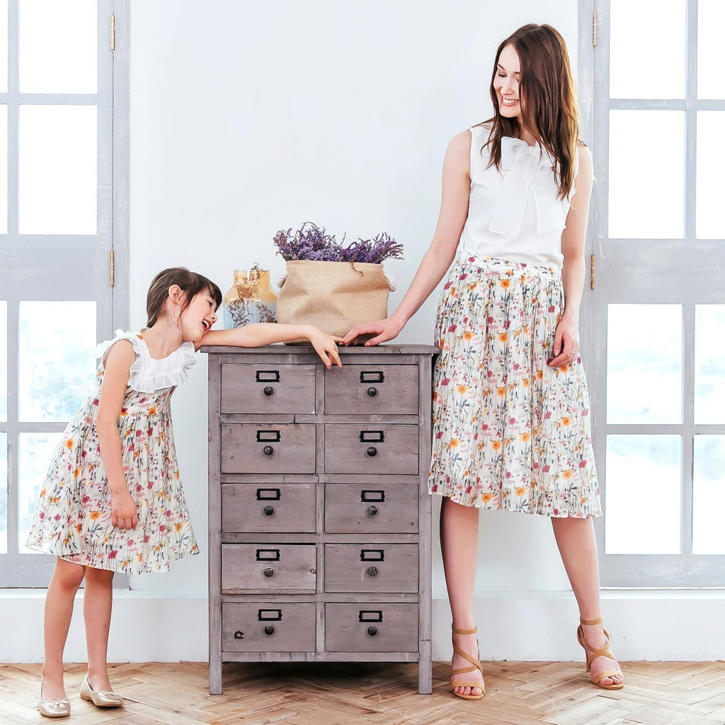Lumi Summer Floral Dress and Skirt - Mommy and Me
