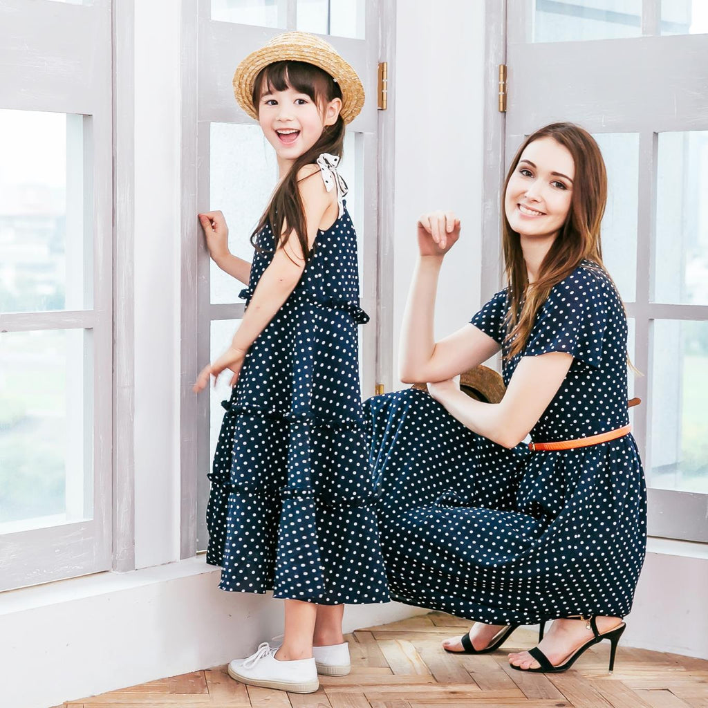 Mara Navy Polka Dot Vintage Cut Dress - Mommy and Me