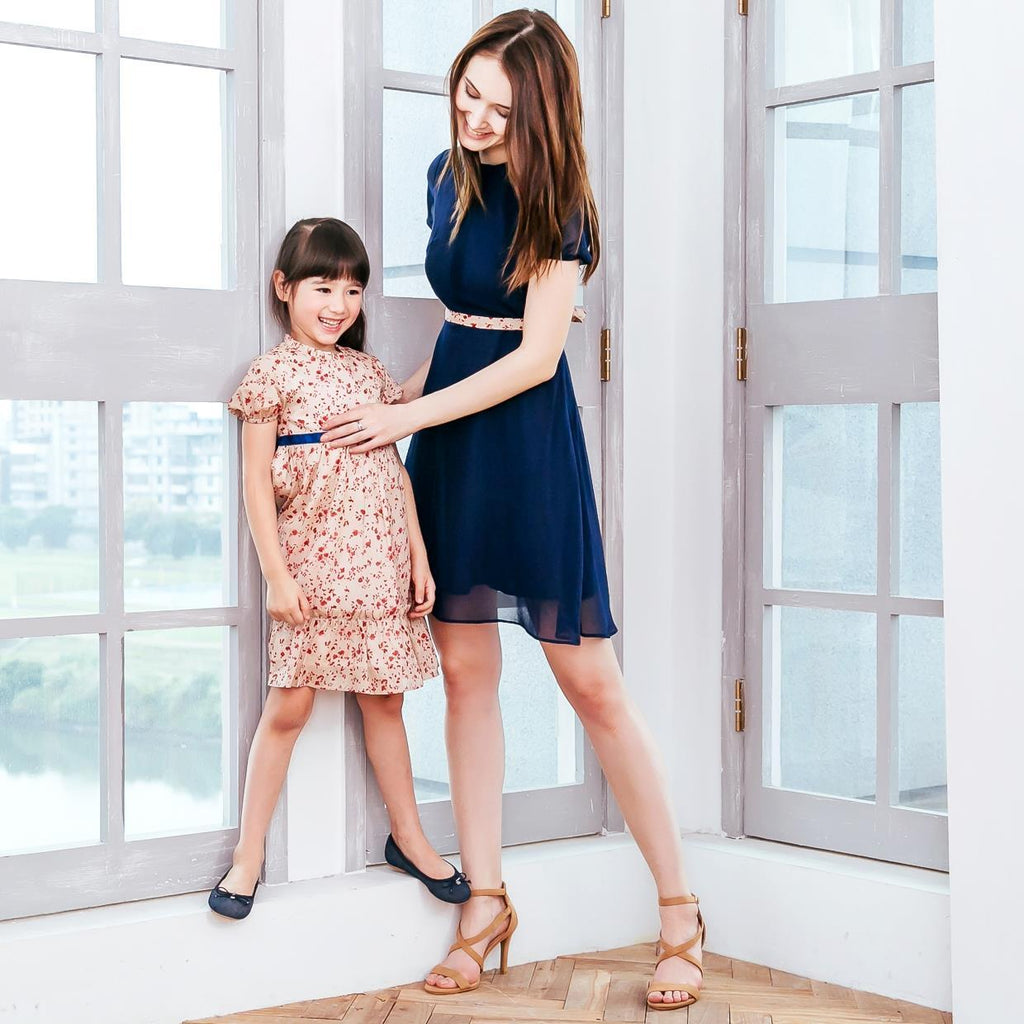 Sweet Cherry Floral and Navy Fit and Flare Dress - Mommy and Me