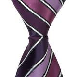 XL17 - Multi Purple with Small White Stripes Matching Tie