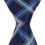XB40 - Navy with Blue/Tan Diagonal Thick Stripe Matching Tie