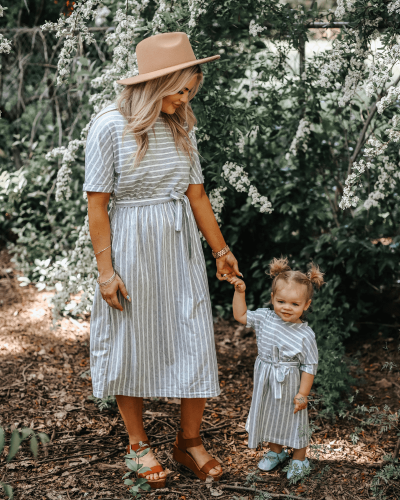 Anchor Gray and White Striped Dress - Mommy and Me
