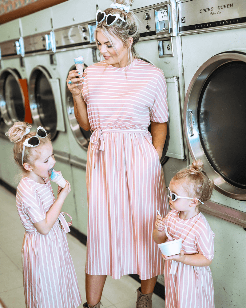 Anchor Mauve and White Striped Dress - Mommy and Me