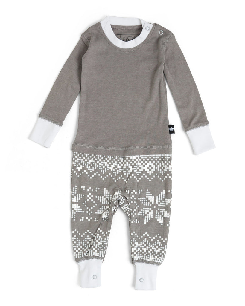 06b5eb6de6 Gray Snowflake Infant Pajama Romper - Gray Top  Matching Family Pajamas