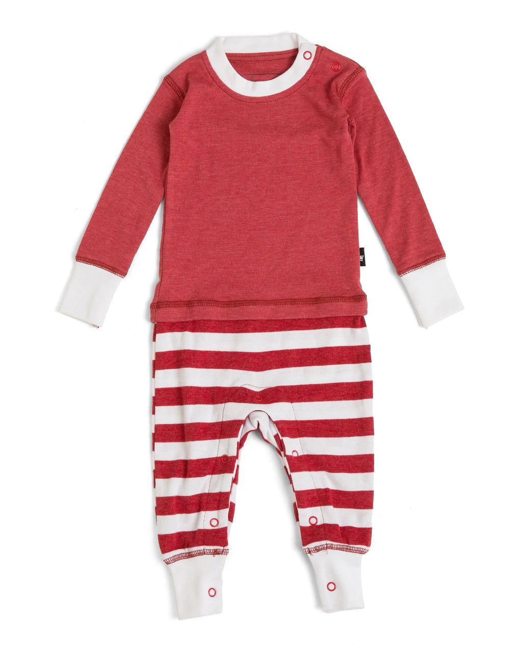 f74ec1640 Candy Cane Red Stripe Infant Pajama Romper - Red Top [Matching Family –  Twinsies Rock