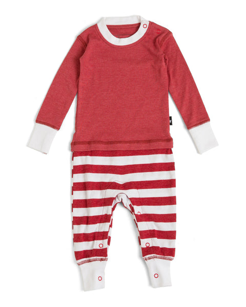 54442269ee6e Candy Cane Red Stripe Infant Pajama Romper - Red Top  Matching Family –  Twinsies Rock