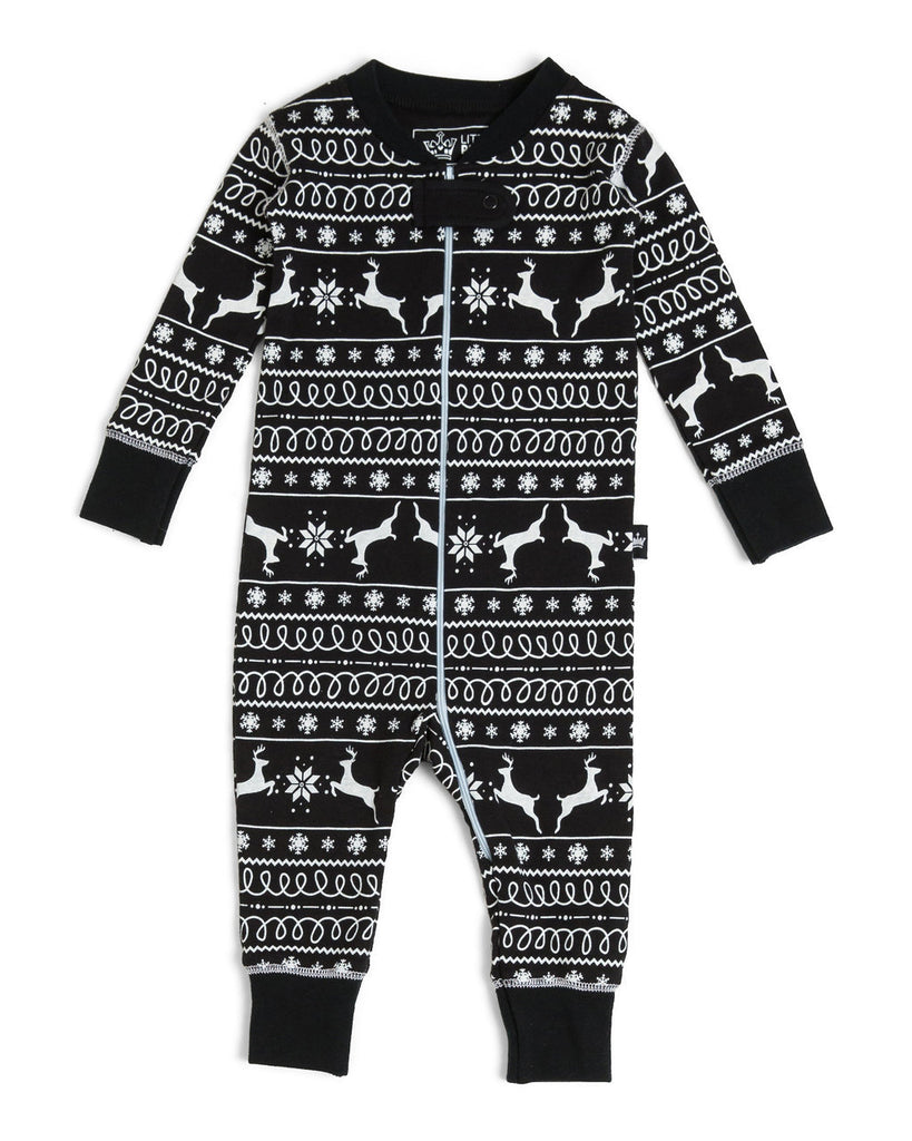 aaa2d17c0e Black Nordic Reindeer Full Infant Pajama Romper  Matching Family Pajamas