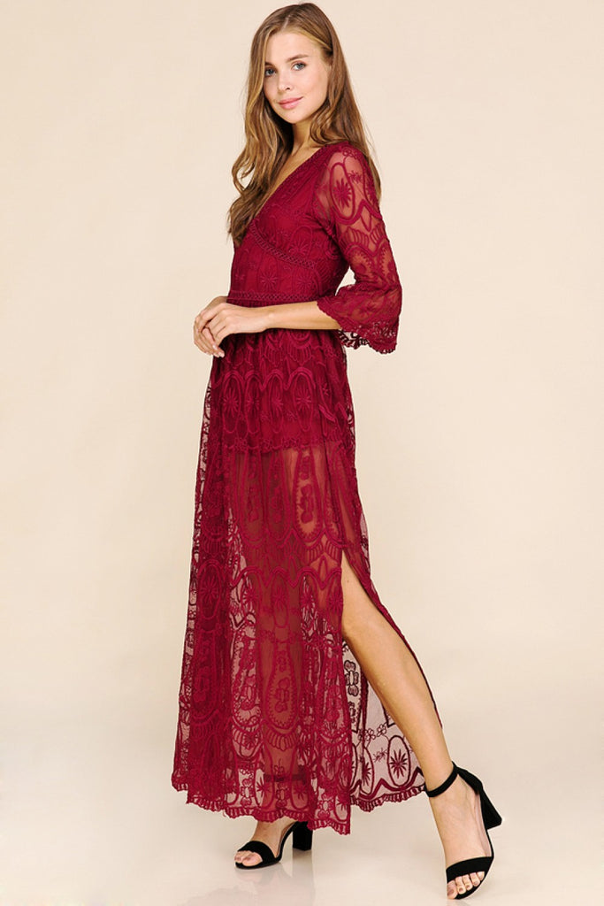 Scarlet All Over Lace Maxi Dress with Shorts Lining in Red