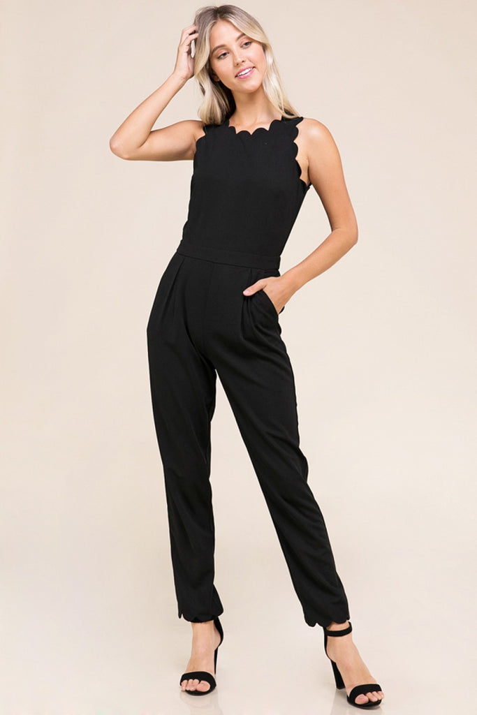 Vera Scallop Edge Point Sleeveless Jumpsuit (Burgundy or Black)