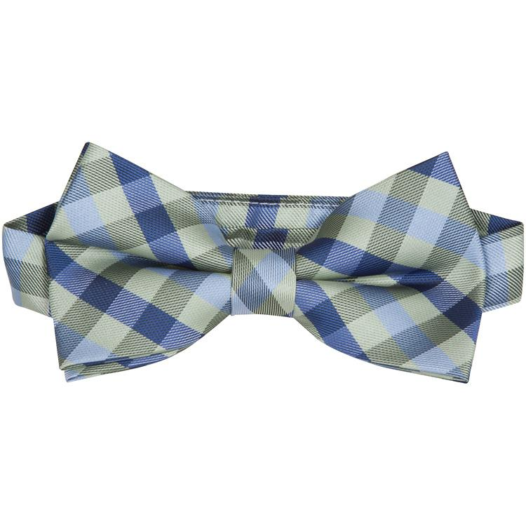 MBT10 Blue and Green Plaid Bowtie and Necktie