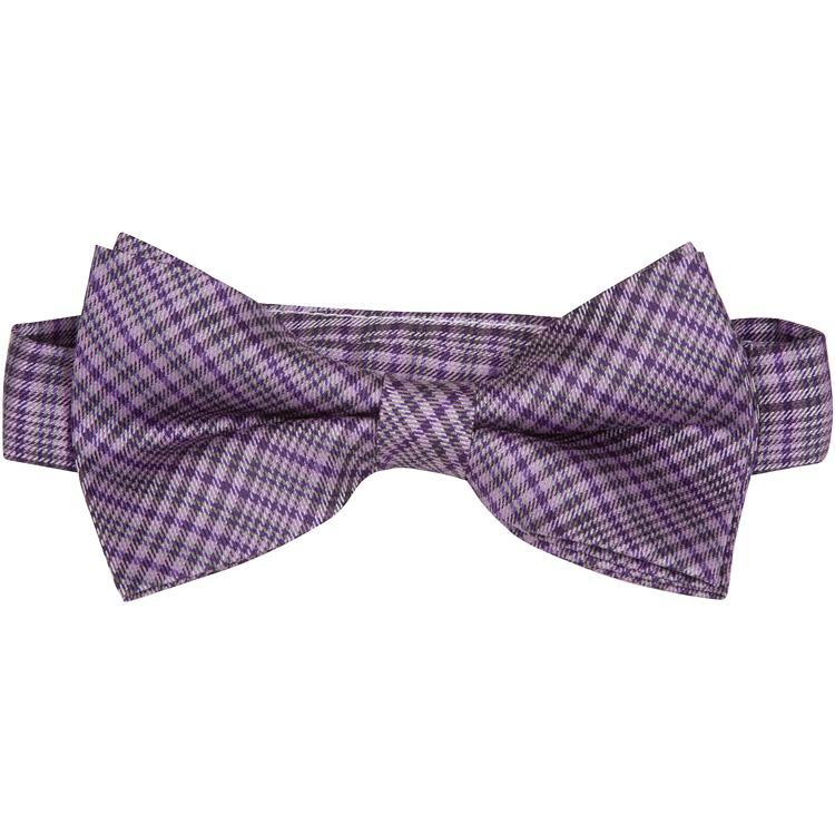 MBT11 Purple, Black and White Plaid Bowtie and Necktie