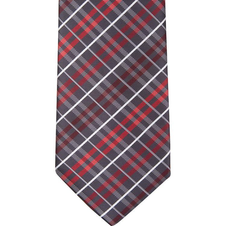 MBT12 Black, Gray, White and Red Plaid Bowtie and Necktie