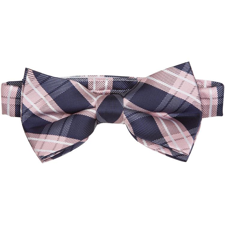 MBT13 Pink and Navy Plaid Bowtie and Necktie