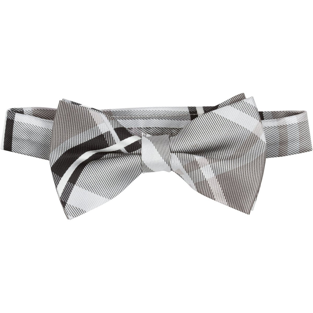 MBT15 Gray, Black and White Plaid Bowtie