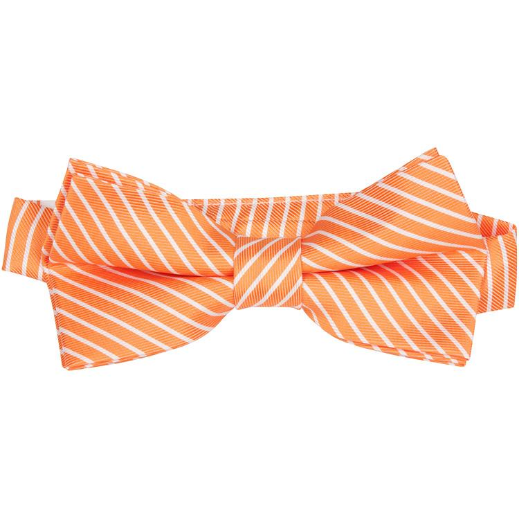 MBT2 Orange and White Stripes Bowtie and Necktie