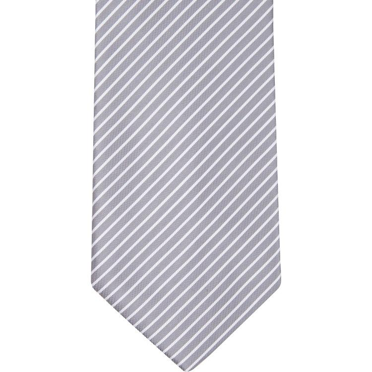 MBT3 Gray and White Stripe Bowtie and Necktie