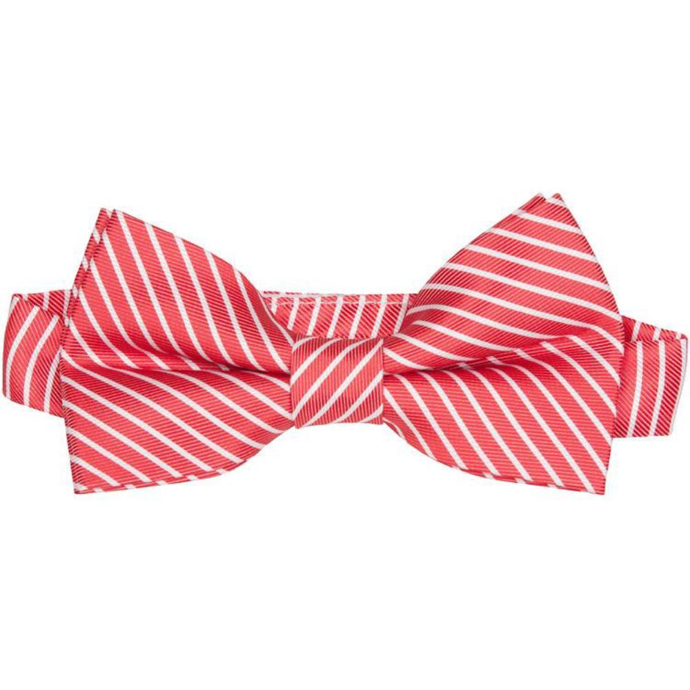 MBT4 Red and White Stripes Bowtie and Necktie