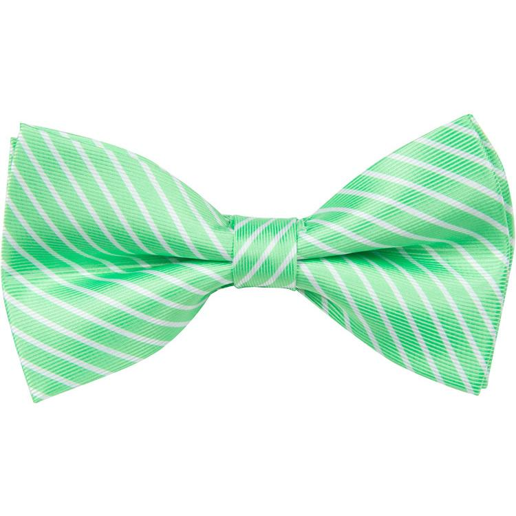 MBT5 Green and White Stripes Bowtie and Necktie