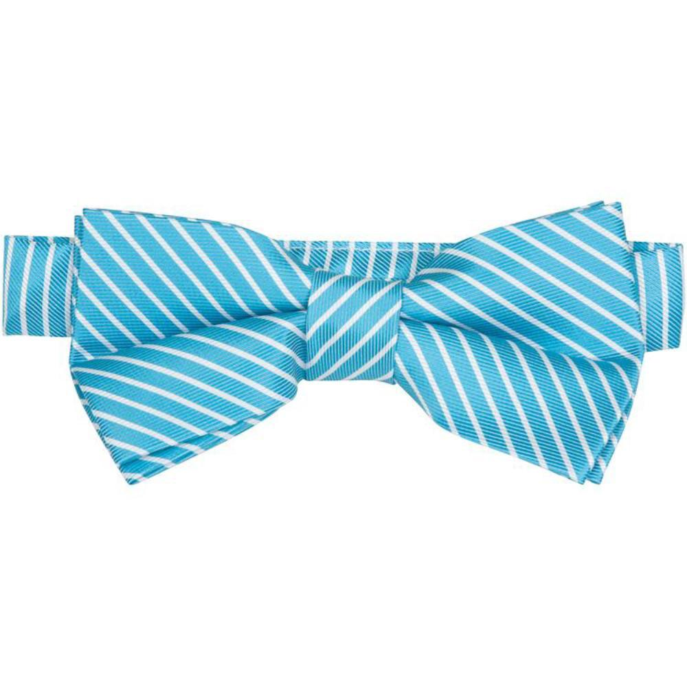 MBT7 Blue and White Stripes Bowtie and Necktie