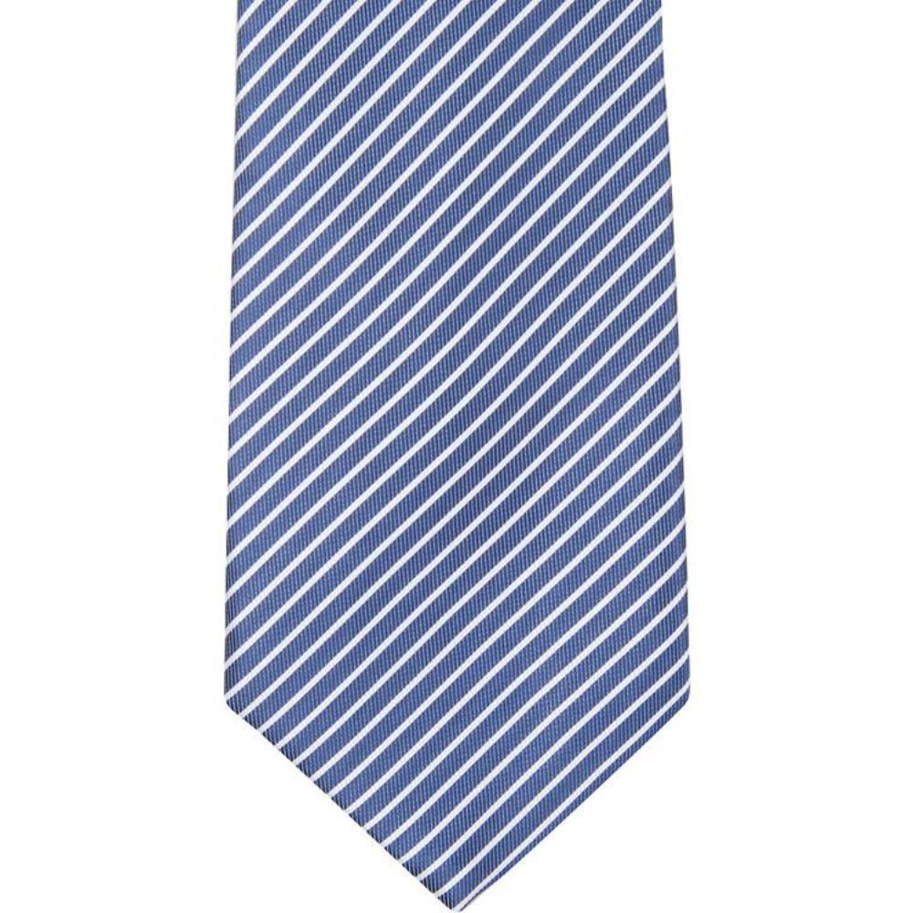 MBT8 Navy and White Stripes Bowtie and Necktie