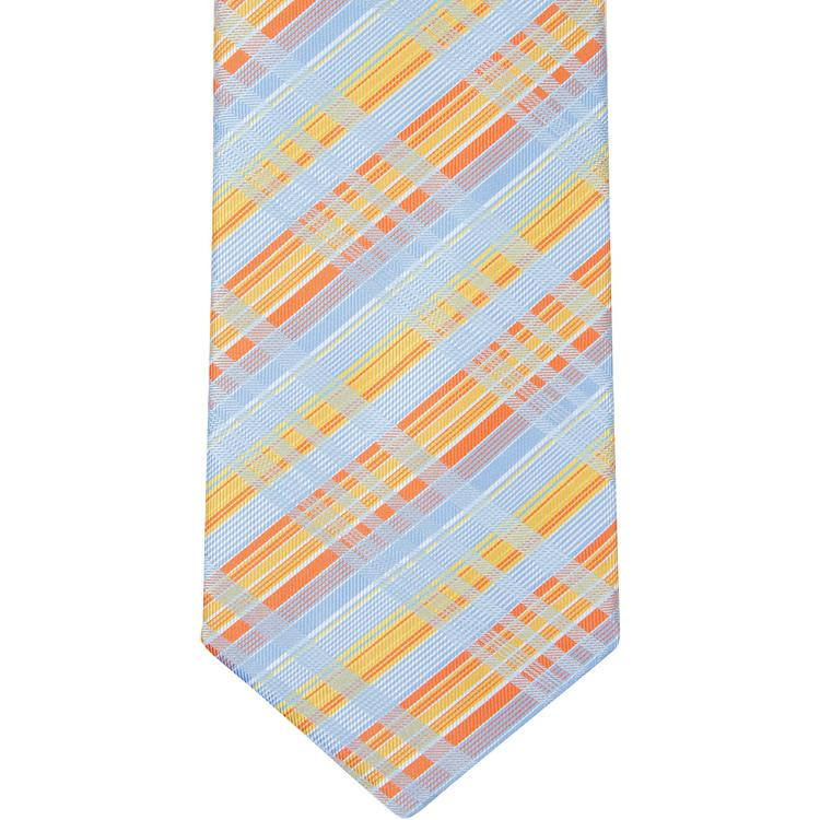 MBT9 Blue and Orange Plaid Bowtie and Necktie
