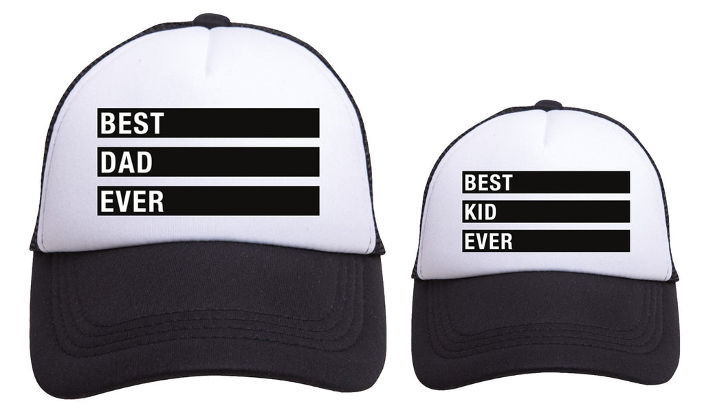 GIFT BOX : BEST KID EVER/BEST MOM EVER/BEST DAD EVER Matching Trucker Hat Set