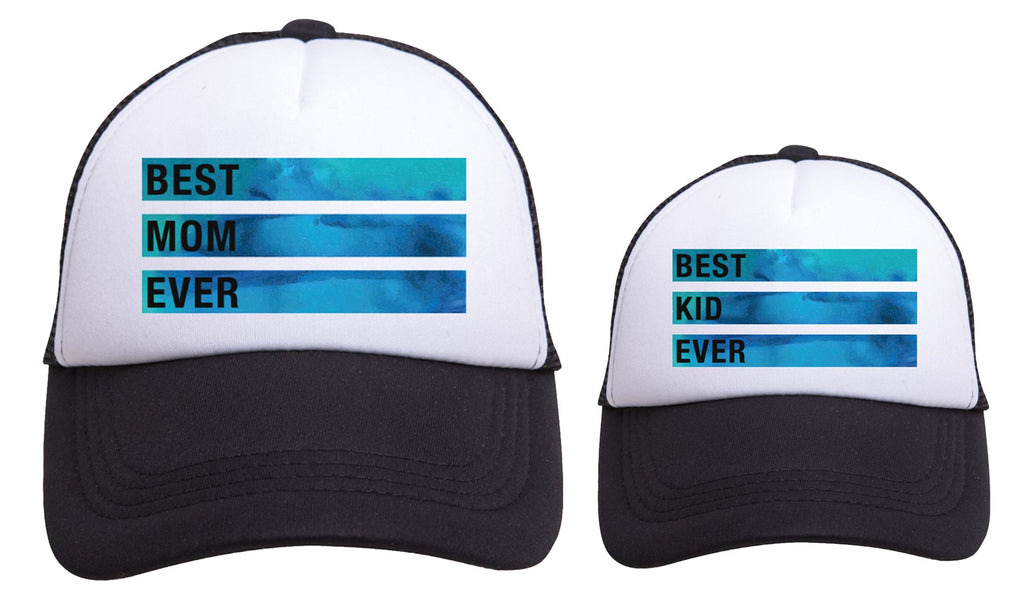 BEST MOM / BEST KID EVER Blue Marble Trucker Hats