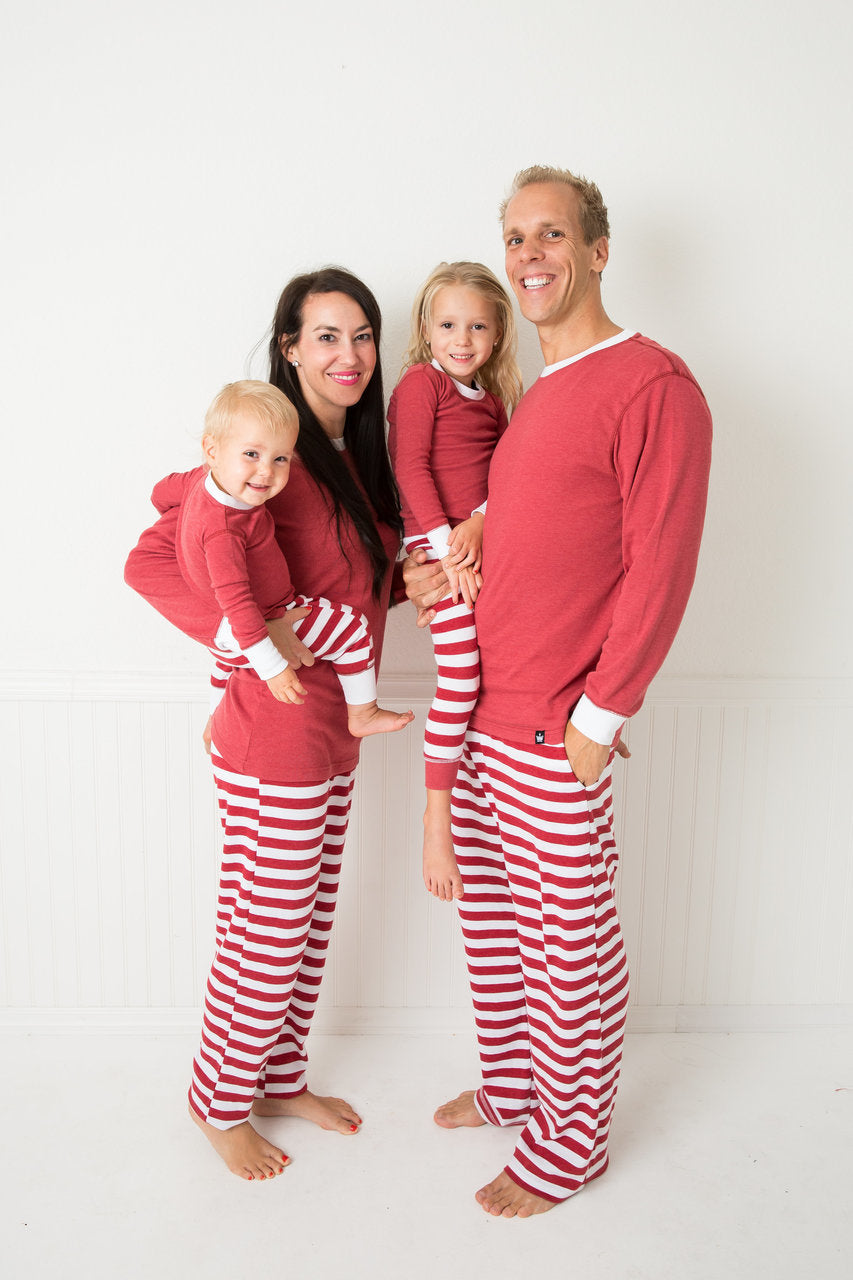 8f879753b7 Candy Cane Red Stripe Men s Pajama Set - Red Top  Matching Family ...