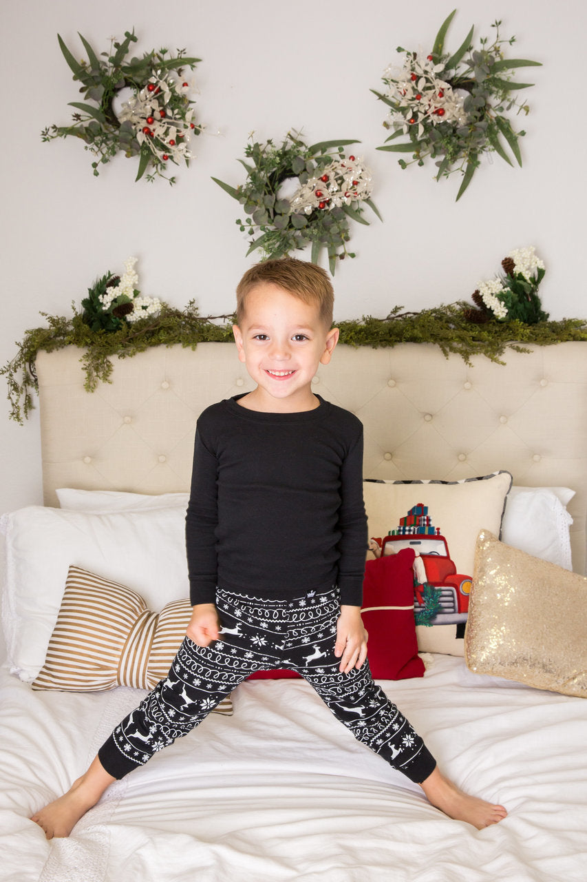 5394306c64 Black Nordic Reindeer Kids  Pajama Set - Black Top  Matching Family Pajamas .  Twinsies Rock