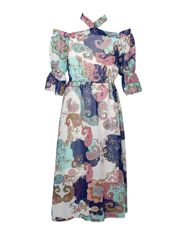 Penelope Bell Sleeve Maxi Dress - Paisley