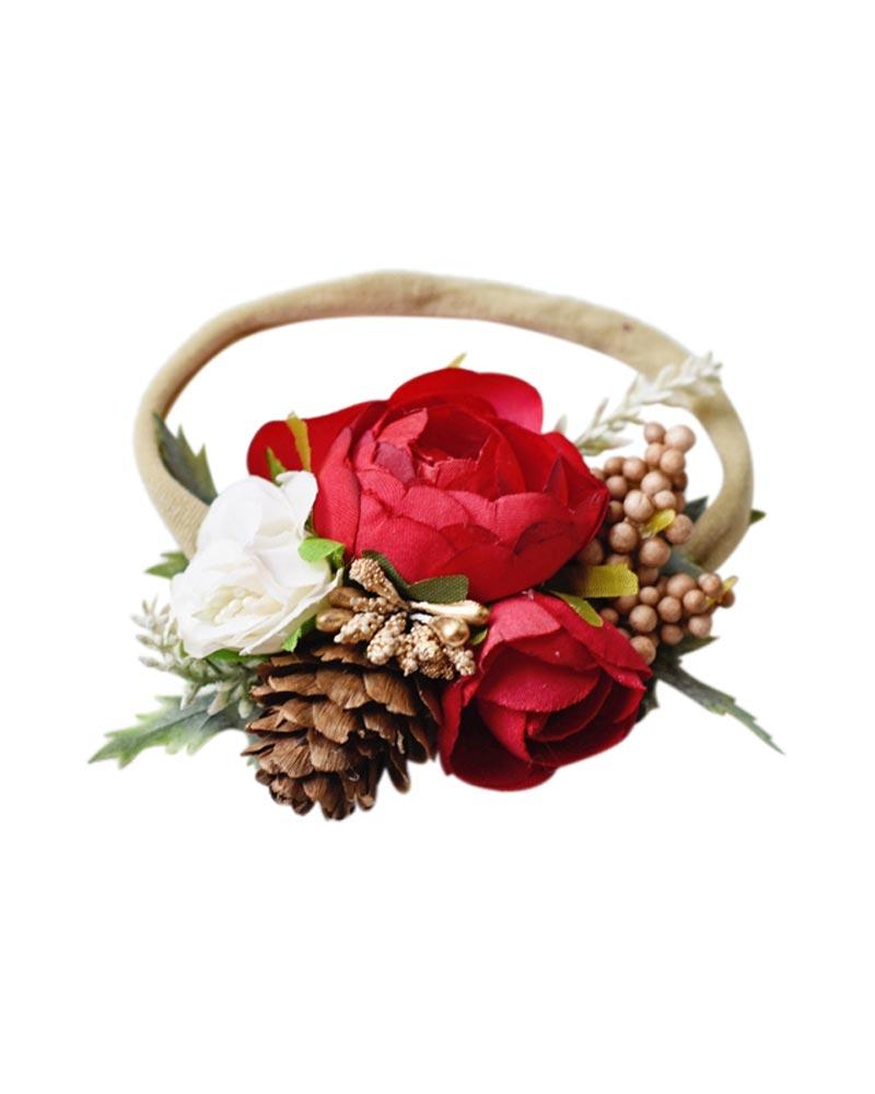 Floral Stretch Headband - Red