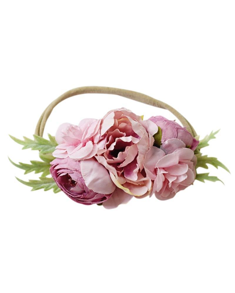 Floral Stretch Headband - Mauve