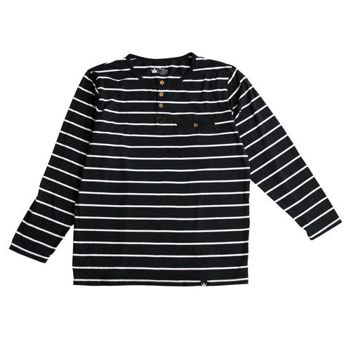 Luke Thick Black Stripe Henley Shirt and Bodysuit
