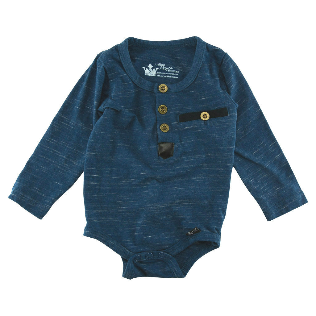Benjamin Navy Slub Knit Henley Bodysuit and Shirt