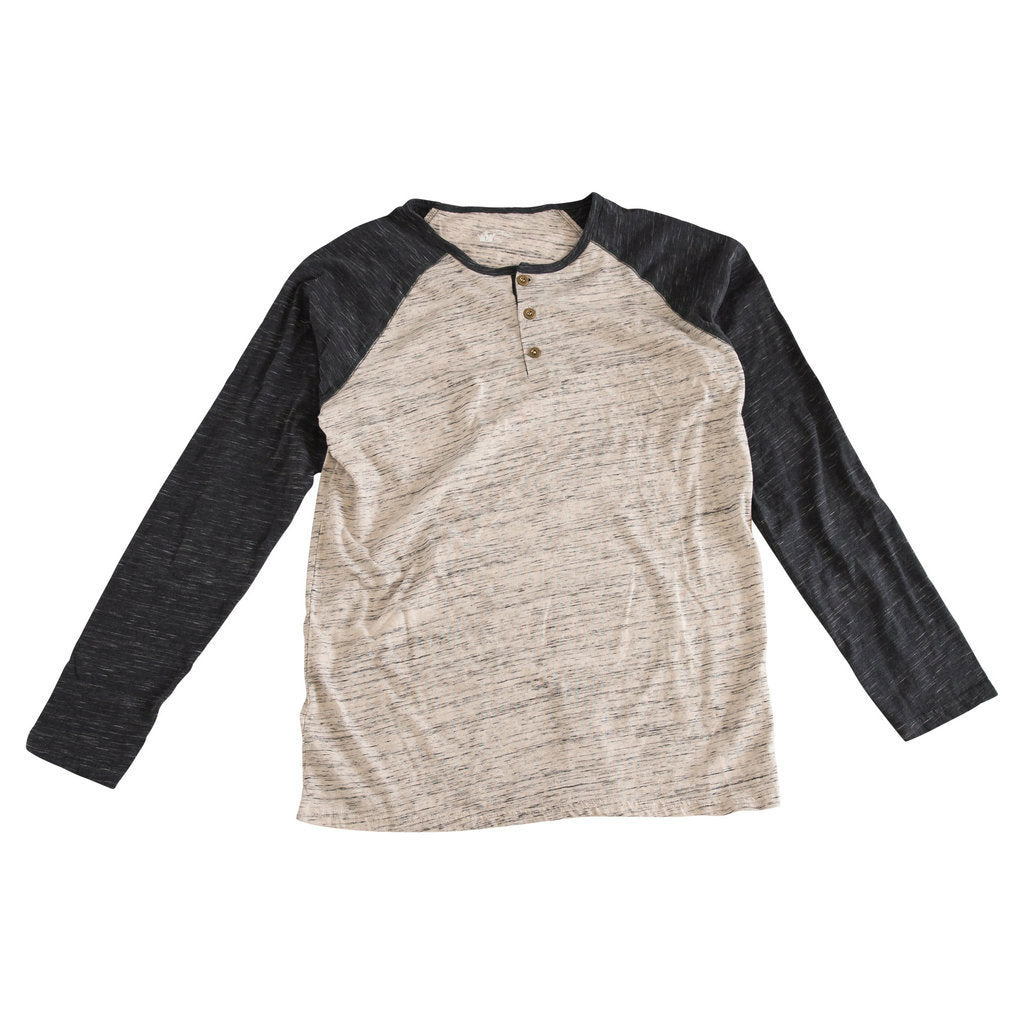 Sebastian Oatmeal & Charcoal Slub Knit Raglan Bodysuit and Shirt