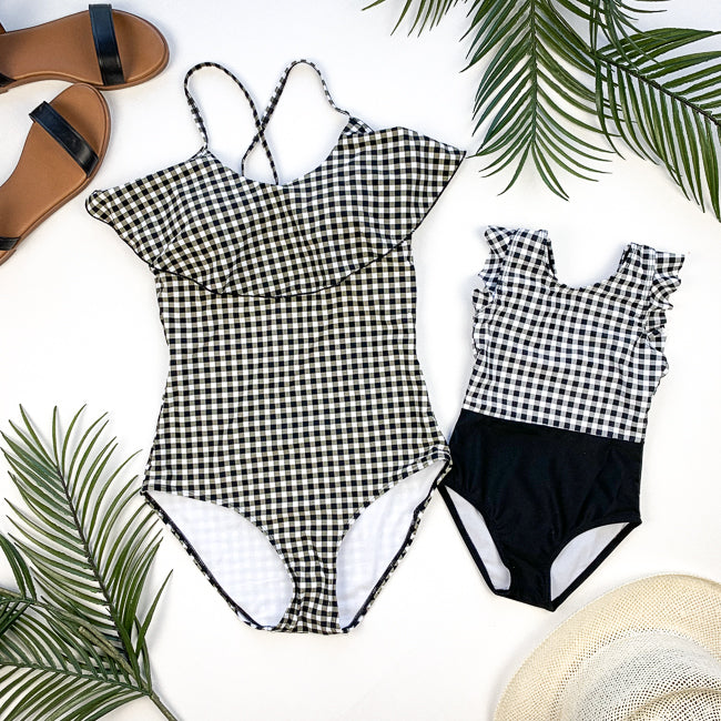 VICTORIA Mommy and Me Swimsuit  - B&W GINGHAM Ruffle Sleeve One Piece-  Janela Bay