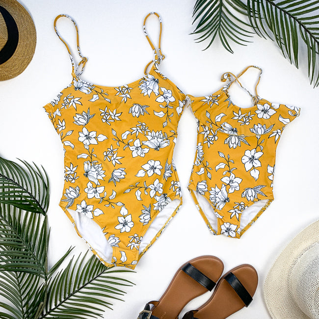 CASSIDY Mommy and Me Swimsuit - Yellow Floral Scoop Neck One Piece - Janela Bay