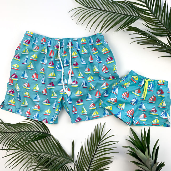 BREEZY SAILS - Daddy + Me | Father and Son Matching Swim Trunks