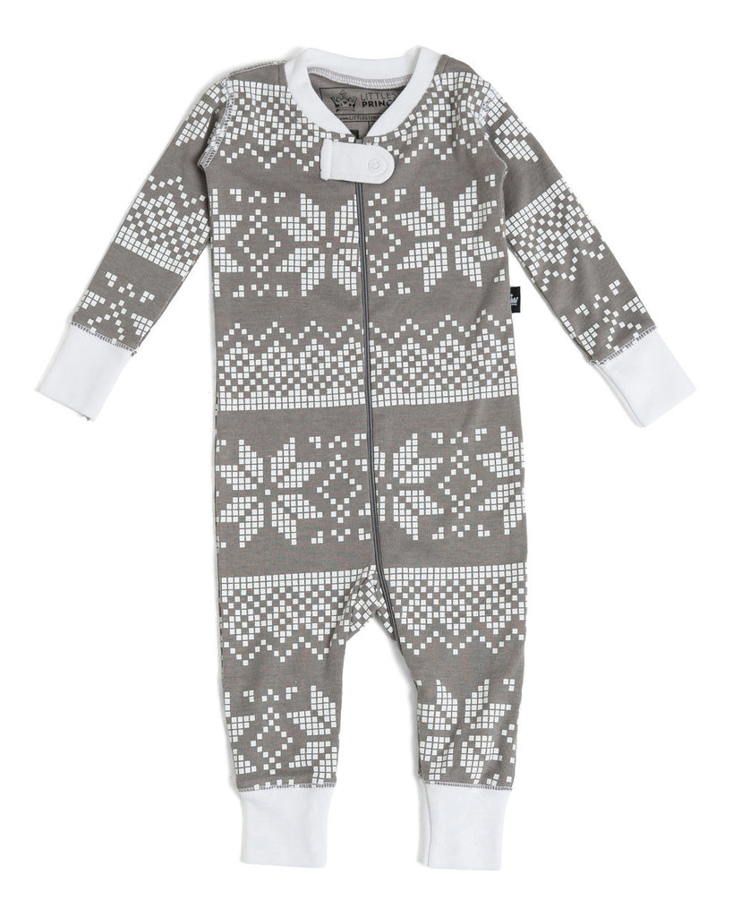 d683f51dda Gray Snowflake Infant Pajama Romper  Matching Family Pajamas