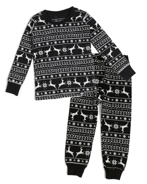 4a3e92d827 Black Nordic Reindeer Kids  Pajama Full Set  Matching Family Pajamas  – Twinsies  Rock