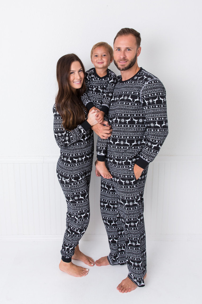 cfb5243ca4 Black Nordic Reindeer Kids  Pajama Full Set  Matching Family Pajamas . Twinsies  Rock