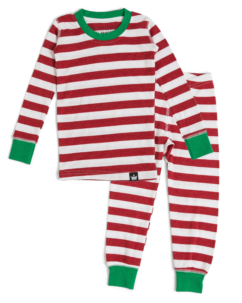 37abbfbea0 Candy Cane Red Stripe Kids  Pajama Full Set  Matching Family Pajamas
