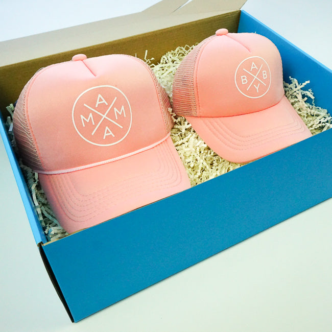 GIFT BOX : Blush Mama x Baby Matching Trucker Hats Set