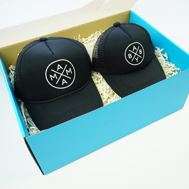 GIFT BOX : Black Mama x Baby Matching Trucker Hats Set