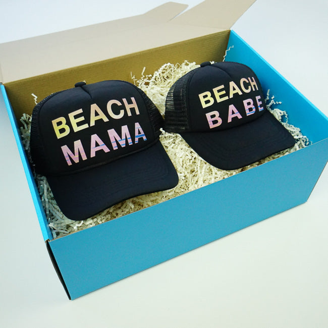 GIFT BOX : Beach Mama & Beach Babe Matching Trucker Hat Set