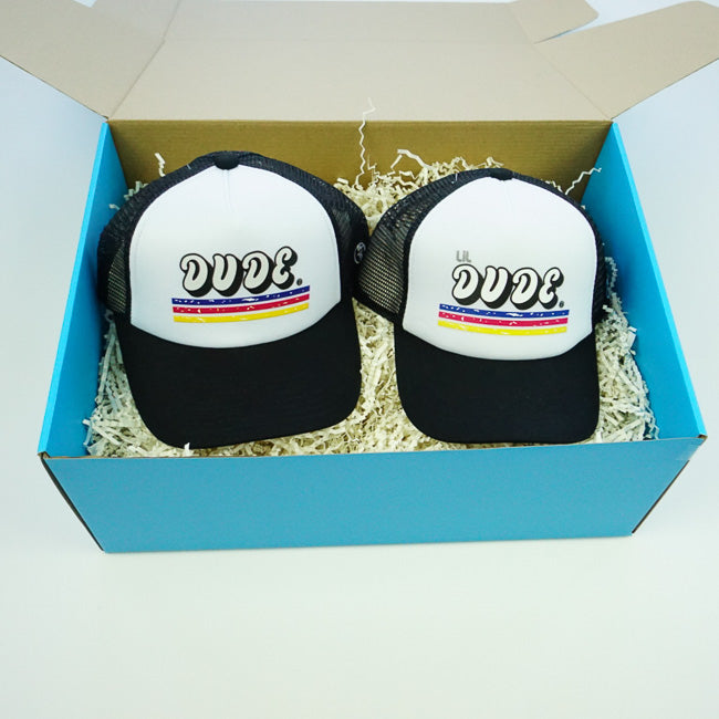 GIFT BOX : DUDE & LIL DUDE Matching Trucker Hat Set