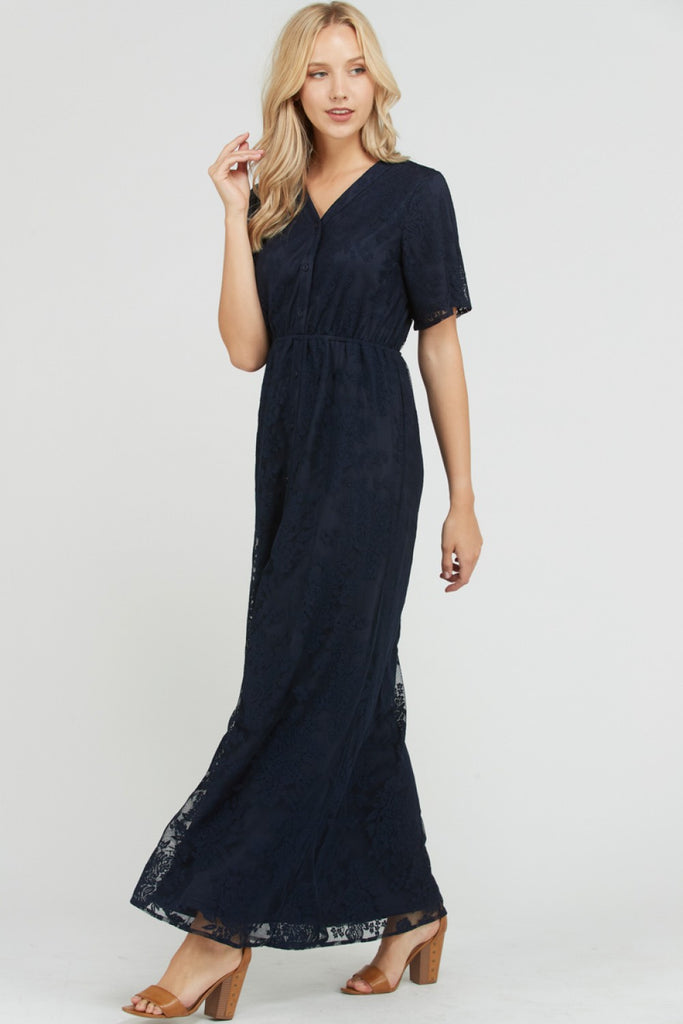 Anne Lace Button Up Maxi Dress - Navy (Nursing and Maternity-friendly)
