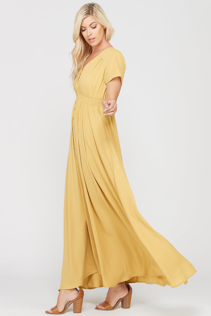 Geneva Waist Smoking Band Maxi Dress - Mustard Yellow (Nursing-friendly and maternity-friendly)