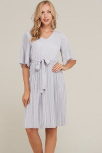 Beverly Pleat Point Dress - Grey